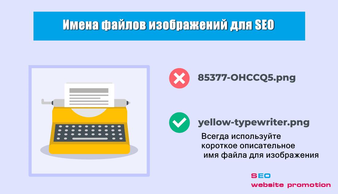 Всегда используйте короткое описательное имя файла для изображения